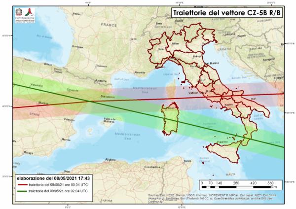 Razzo cinese, nuovi aggiornamenti: scendono a due le orbite sull'Italia