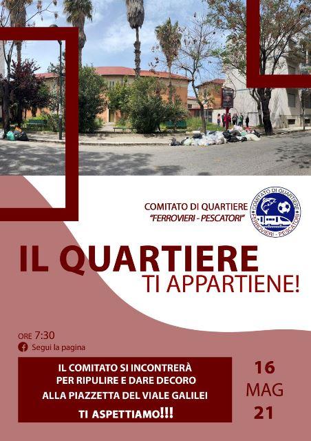 """Reggio Calabria: domenica il Comitato di Quartiere """"Ferrovieri Pescatori"""" si ritroverà per riqualificare la piazzetta di Viale Galileo Galilei"""