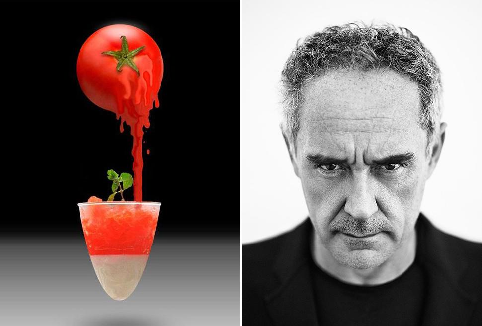 Il piatto che ha segnato la rivoluzione della cucina mondiale: la granita salata di pomodoro con biancomangiare di Ferran Adrià