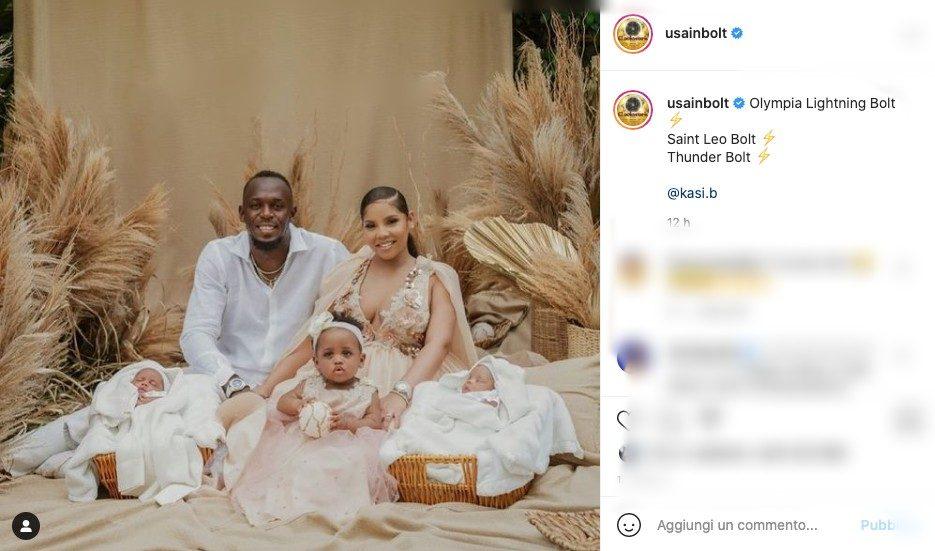 Usain Bolt è diventato papà di due gemelli, la prima foto con tutta la famiglia