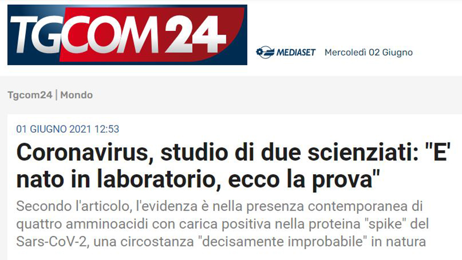 """coronavirus,-studio-di-due-scienziati:-""""e'-nato-in-laboratorio,-ecco-la-prova""""-(tgcom24)"""